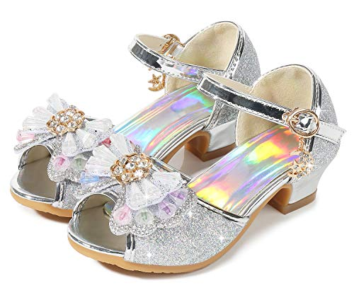 Osinnme Sandals for Kids Girls High Heel Christmas Princess Heeled Shoes Size 3.5M for Big Girls Wedding Sequin Princess Crystal High Wedge Sandals (02T Sliver 36)]()