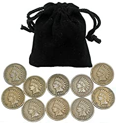 Ten coins from the iconic Indian Head cent series, each one a different date and all minted more than 100 years ago. Dates will generally range from 1880 through 1909 and coins will grade good or better. Picture is for reference only. The coins you r...