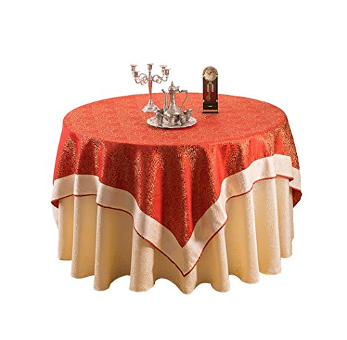 European style luxury fabric tablecloths home wedding restaurant round tablecloths ( Color : Red , Size : 1.5m ) by Homesick