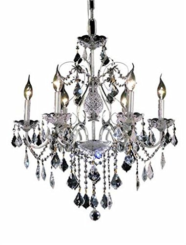 Christiane Chrome Traditional 6-Light Hanging Chandelier Heirloom Grandcut Crystal in Crystal (Clear)-1713D24C-EC--24