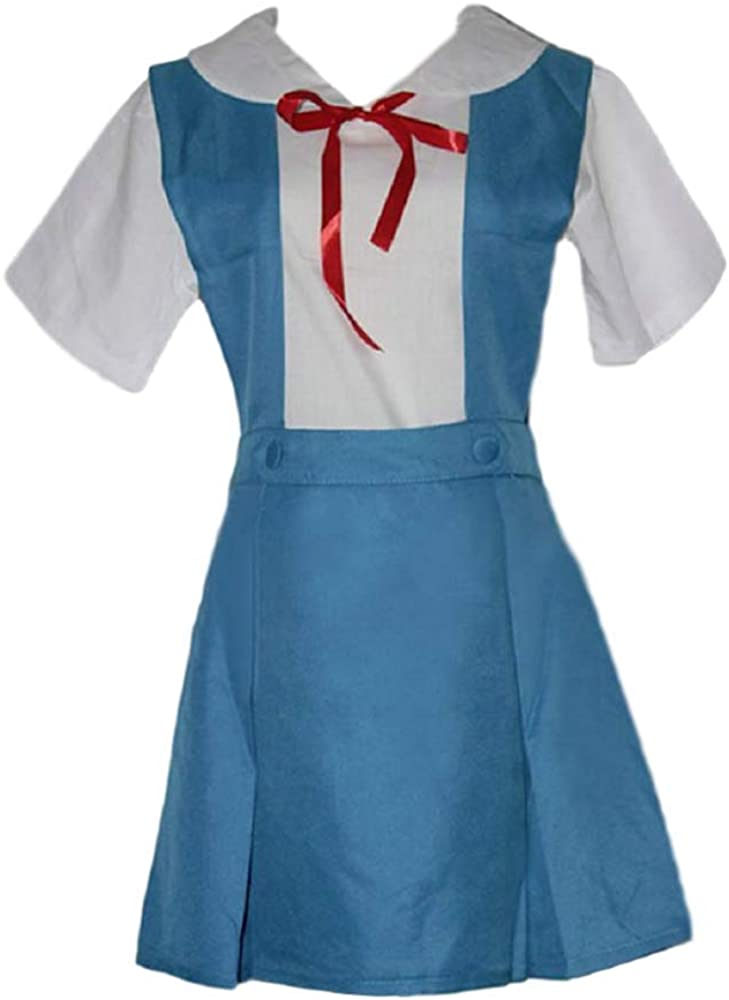 GK-O Anime Evangelion Rei Asuka School Uniform Cosplay Costume Blue Green, Size M