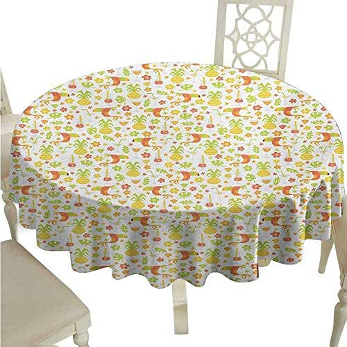 sashimii Luau Waterproof Tablecloth Tropical Birds and Trees Plants Leaves Flowers Nature Party Theme Easy Care D51 Apricot Dark Orange Apple Green