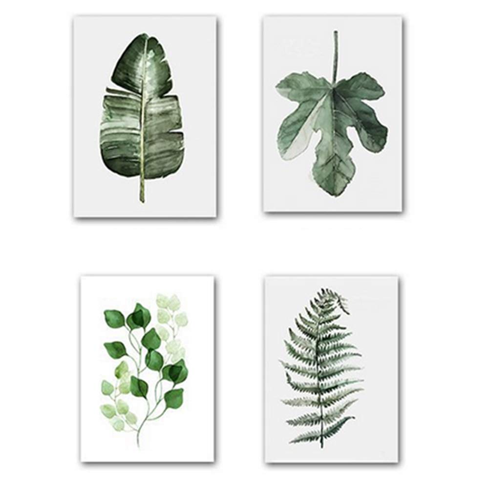 Xiton Frameless painting 4Pcs green plant pattern painting wall decoration interior decoration poster