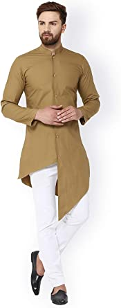Camisa Lisa Kurta India para Hombre Casual Camisas 100% algodón túnica Parte Superior - Marrón - 6X-Large: Amazon.es: Ropa y accesorios