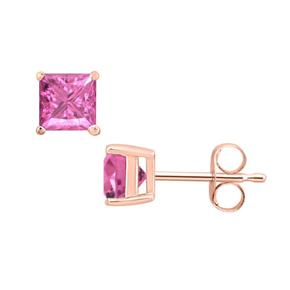 SVC-JEWELS Princess Cut Pink Sapphire Solitaire Stud Earrings 14K Rose Gold Over .925 Sterling Silver For Womens /& Girls 3MM TO 10MM
