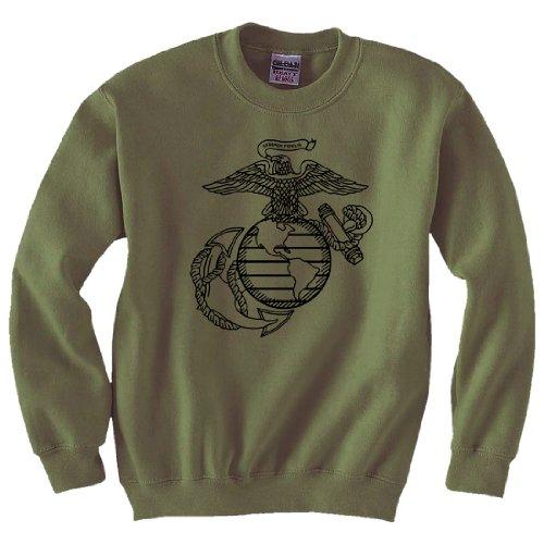 (Eagle Globe & Anchor Crewneck Sweatshirt in Military Green - XX-Large)
