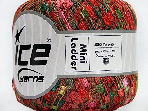 Rose Garden Mini Ladder Yarn - Red Pinks Greens Brown Ribbon 50 Gram 136 Yards