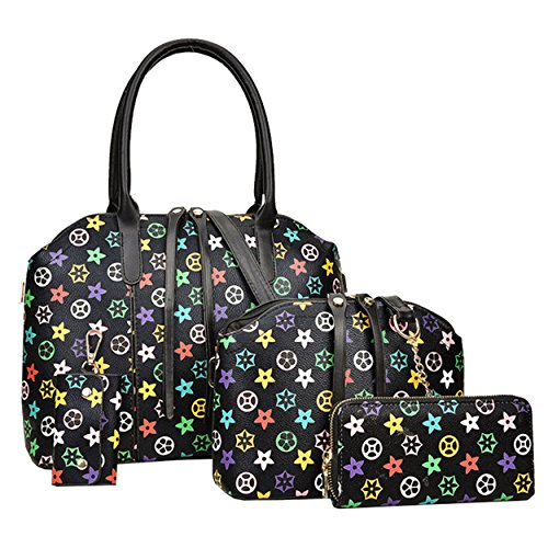 Handbag Tote 4Pcs Purse Shoulder Women Set Black amp;A Bag Fashion M SYOwqt1t