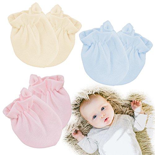Kalevel 3 Pairs Baby Mittens No Scratch Newborn Gloves 0-6 Months Organic Cotton (Mixed Colors) 2 Pair No Scratch Mittens