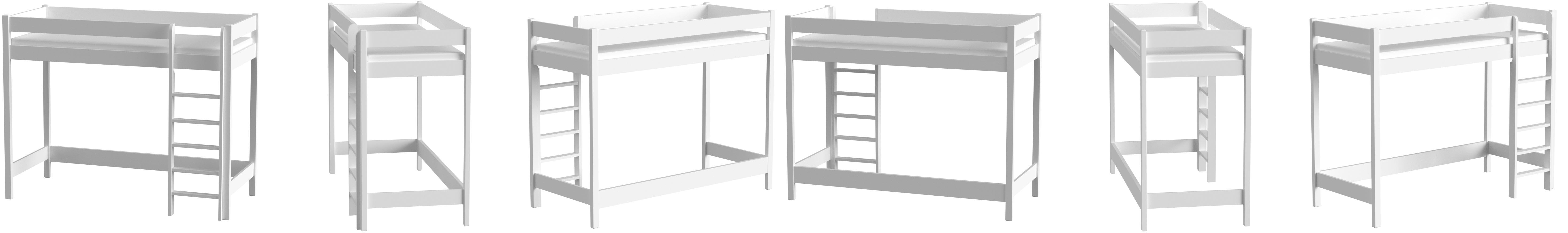 Childrens Beds Home Letti a soppalco per Bambini Bambini Junior Senza Materasso Incluso 140x70, Bianco