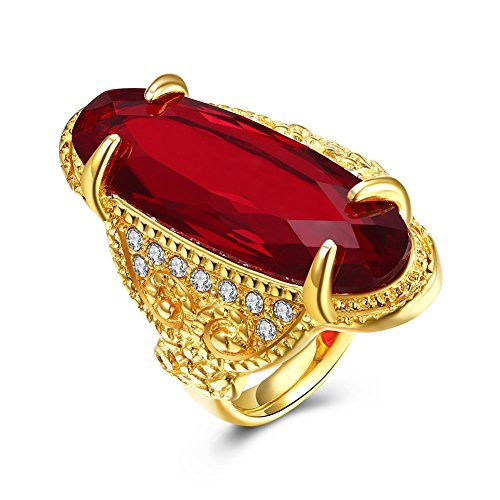 Costumes Jewellery Cocktail Rings (Retro Red Crystal Cocktail Band Ring Gothic Dragon Claw Birthday Christmas Party Gift)