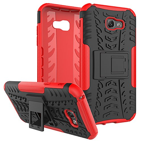 "Galaxy A7 (2017) Case, SsHhUu Tough Heavy Duty Shock Proof Defender Cover Dual Layer Armor Combo Protective Hard Case Cover for Samsung Galaxy A7 (2017) (5.7"") Red"