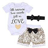 "Baby Girls ""Love"" Short Sleeve Bodysuits + Gold Sequins Tassels Shorts Pants Outfit with Headband (0-6 months, white+gold)"