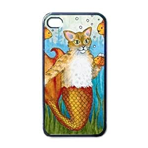 Cat Mermaid fantasy Merkitty Case for Apple Iphone 4 from art painting 002