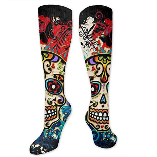 Knee High Compression Socks 15-20 mmHg Best Medical Nursing for Men & Women - Colorful Calavera Trippy Sugar Skull Psychedelic Long Stockings for Athletic/Varicose Veins