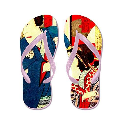 Cafepress Vintage Giapponese Woodbloc Kabuki Geisha - Infradito, Divertenti Sandali Infradito, Sandali Da Spiaggia Rosa
