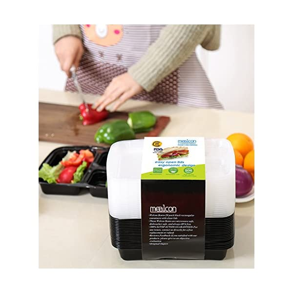 Meal Prep Containers Compartment Food Prep Containers Bento Box BPA-Free Food Storage Containers with Lids-Reusable Meal Prep Containers (Black 20-3) 5135vE1bnsL