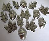 15 pieces Antique Silver FALL LEAVES and ACORN Push Pins, T322AS