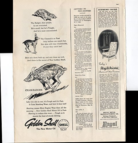 Advertisement Metal (Golden Shell The New Motor Oil Cham-Badger Like Two Oils In One It's Tough And It's Fast Royal Metal Furniture Since '97 Chairs 1937 Vintage Antique Advertisement)
