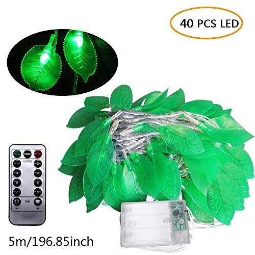 Fairy Lights Kit,Leaves String Lights with Waterproof/AA Battery Powered Bar Lights Decorations for Restaurant,Teahouse,Garden, Home, Wedding,Christmas (5m 40 Lights, Remote Control Battery Box) by KOBWA