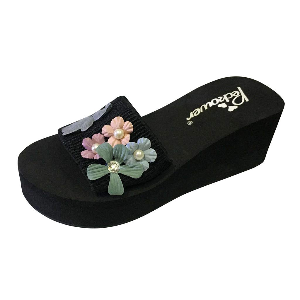 Lurryly Womens Fashion Flowers Pearl Platform High Heels Outdoor Slippers Beach Shoes