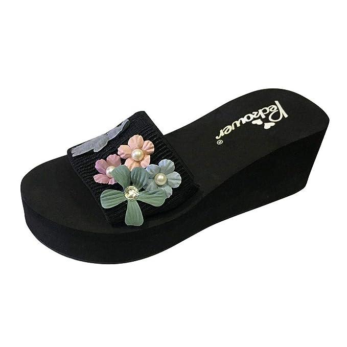Yvelands Mujeres Liquidación Moda Flores Perla Plataforma Tacones Altos Zapatillas de Playa Zapatos de Playa: Amazon.es: Ropa y accesorios