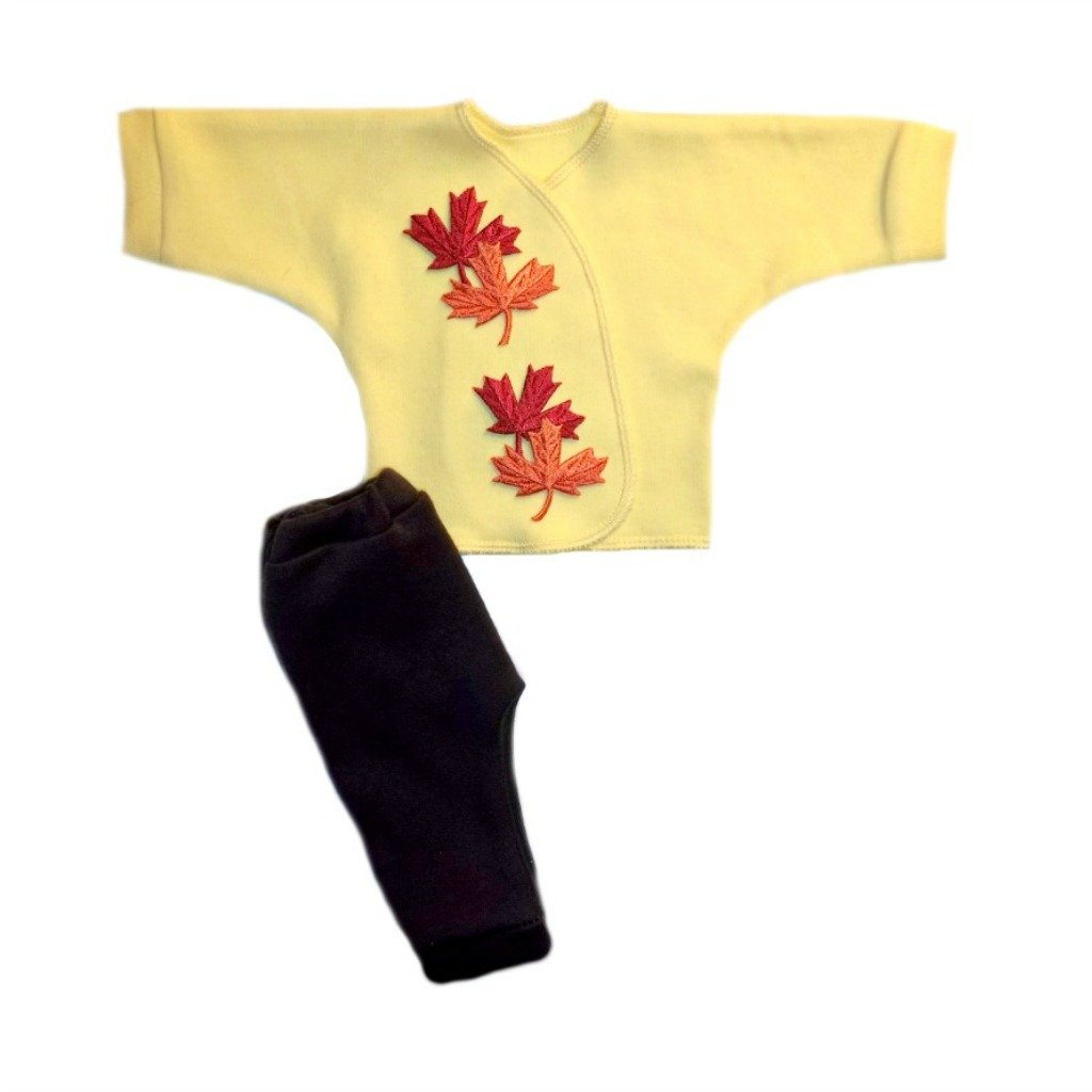 Jacquis Unisex Baby Falling Leaves Shirt and Pants Outfit 0-3 Months Yellow