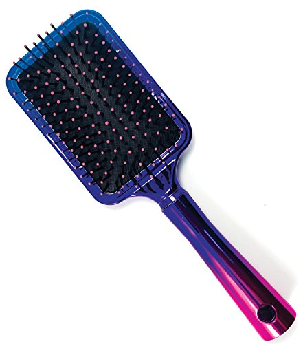 Large Square Paddle Brush by Better Beauty Products, Ombre Tricolor Chrome Finish, Detangling Brush, Professional Salon Brush, with Lavender Tipped Quills and Long Handle