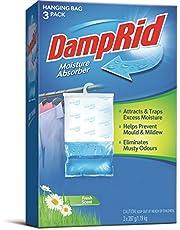 DampRid FG83K Hanging Moisture Absorber Fresh Scent (1 Box / 3 bags, 14 oz each)