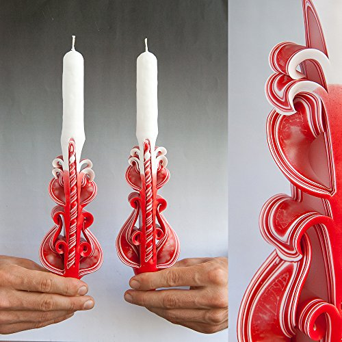 (Unique decorative taper carved candle for Christmas gifts, unusual housewarming and wedding unity ceremony from Primacandle)