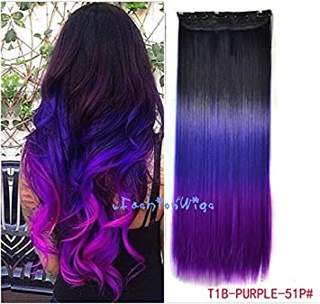 Amazoncom Black To Purple To Grape Purple Three Colors Ombre Hair