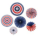Ids Pack of 6 America Style Party Decorations Paper Fan for America Theme Party Patriotic Decorations Independence Day Party Star Streamers Party