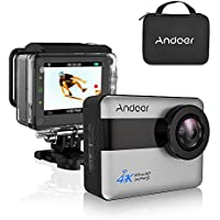 Andoer 4K WiFi Action Camera 2.31-inch Full HD LCD Touchscreen with 20MP Novatek 96660 Chipset Suppport Gyroscope Anti-Shake 5X Zoom, 170 Wide-Angle Lens and Waterproof Hard Case