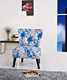 Cheap Container Furniture Direct Cora Collection Contemporary Floral Print Upholstered Living Room Accent Chair, Grey/Blue