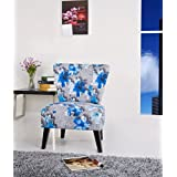 Container Furniture Direct Cora Collection Contemporary Floral Print Upholstered Living Room Accent Chair, Grey/Blue