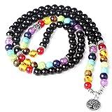 Jstyle 8MM 108 Healing Prayer Mala Beads Pendant Necklace Multilayer Bracelet Chakra Stone