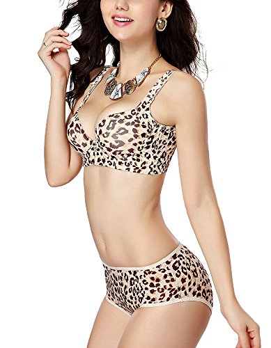 muco Women's Push up Embroidery Bras Set Lace Lingerie Bra and Panties Ayswx031 (36c, Leopard Print) ()