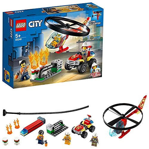 LEGO 60248 City Fire Helicopter Response Toy, Firefighter Adventure Building Set with ATV Quad Bike