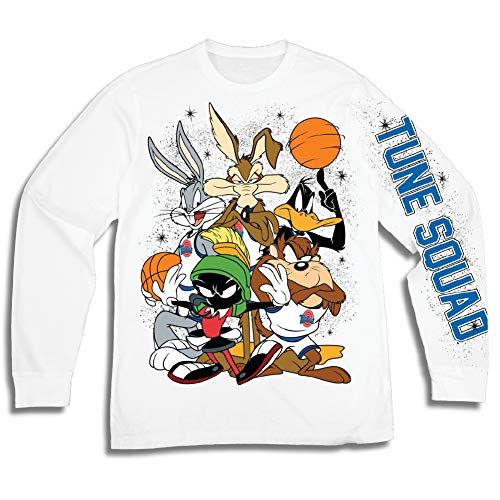 - space jam Mens Group Shirt - Tune Squad and Monstars Long Sleeve Tee - 90's Classic T-Shirt (White, X-Large)