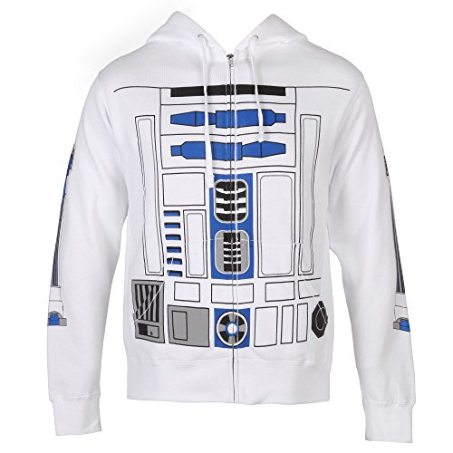 [Star Wars I Am R2-D2 Costume Zip-Up Adult Hoodie - White (XXX-Large)] (Ewok Star Wars Costume)