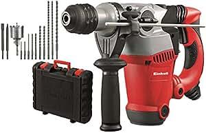 Einhell RT-RH 32 Kit - Pack con martillo perforador eléctrico, 12 accesorios y maletín, cabezal SDS-plus, 3.5 J, 1250 W, 230 V, color rojo/negro/gris