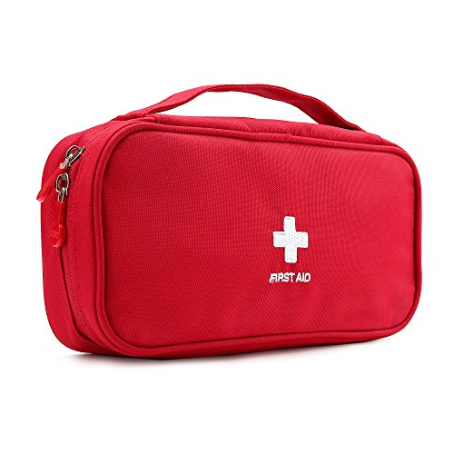 Alisagoo First Aid Bag Roomy Empty Kit Bag Medical Emergency Survival Outdoor Pouch (Red)