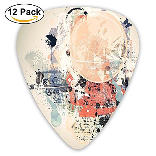 Newfood Ss Grunge Textured Mix Collage With Murky Tone Effects Artistic Watercolor Design Guitar Picks 12/Pack Set ()