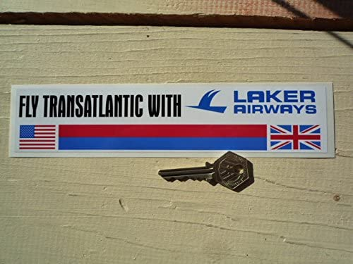 "I Say Ding Dong Laker Airways 'Fly Transatlantic with Laker Airways', calcomanía de 9""."