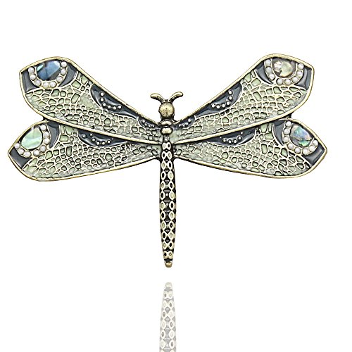 Gold Plated Q&Q Fashion Retro Art Nouveau Victorian Dragonfly Pearl Wing French Lapel Brooch Pin ()