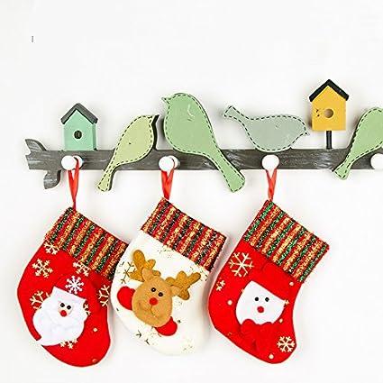 neaer 4 pcs small christmas stocking xmas decorations children gift candy bag santa claus socks christmas