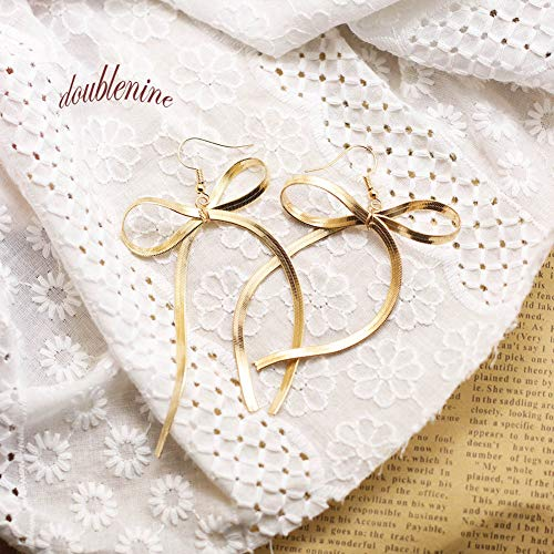 Ribbon Earrings - DoubleNine Bow-Knot Ribbon Drop Dangle Earrings Handmade Gold Minimal Love Sweet Wedding Brida Jewelry for Women Girls (gold)
