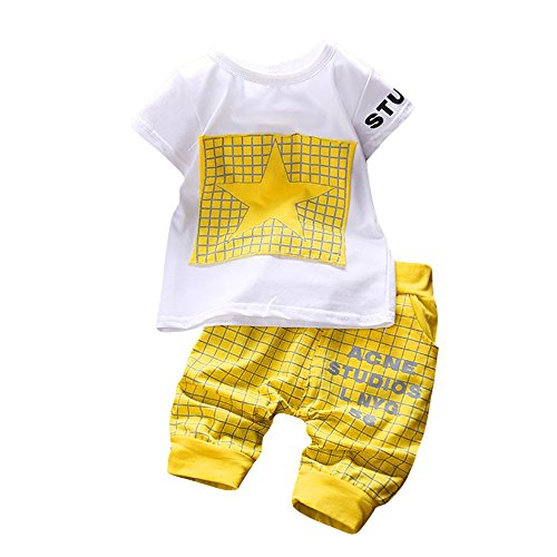 iYBUIA Unisex 2Pcs Infant Kid Boys Girl Letter Star Print Plaid Tops+Pants Outfits Clothes -