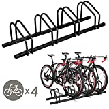 Goplus 4 Bike Rack Bicycle Floor Stand Parking Garage Storage Organizer Cycling Rack, Black