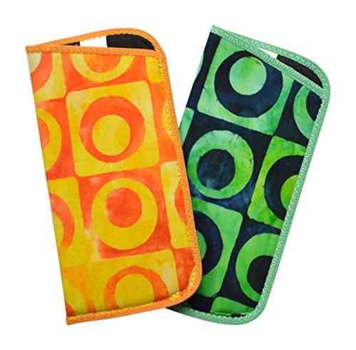 2 Pack Array Bold Design Eyeglass Slip Case Yellow Orange & Green Navy USA Made